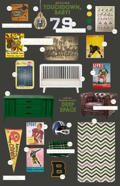 would be cool as room for older boys, too...football baby nursery style board inspiration