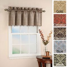 Frame your window with this elegant and stylish beaded window valance by Mallorca. This valance is made from 100 percent polyester in black, blue, gold, chocolate, or cinnabar and accented with beautiful color-coordinated beading.