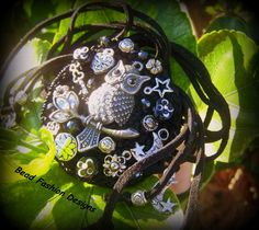 Round crochet bracelet with leather, crystals  antique silver findings.   SOLD OUT https://www.etsy.com/shop/BeadFashionDesigns https://www.facebook.com/pages/Bead-Fashion-Designs/131856296843173?ref=tn_tnmn