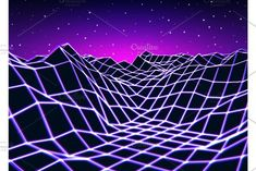 Neon grid landscape with retro wave game style