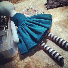 Accidentally made this dress twice as full as I wanted but I really like it! #blackwoodcottageart #artist #clothdoll #ragdoll #sewing #doll #dollclothes #stripes #cuteness #girly #zombie