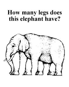 This is the famous elephant legs optical illusion and it's definitely a tough one. The object of this optical illusion is to count the number of the legs. Optical Illusions For Kids, Eye Illusions, Art Optical, Funny Illusions, Op Art, Illusion Pictures, Eye Tricks, Brain Tricks, What Do You See