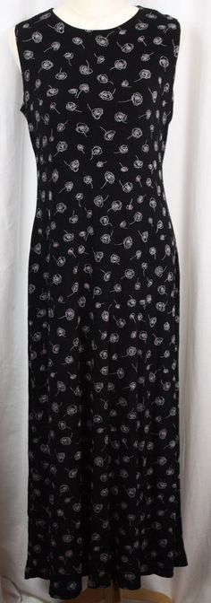 Dressbarn Womens Travel Knit Full Length Sleeveless Black Floral Dress Size 12 #Dressbarn #Maxi #Versatile