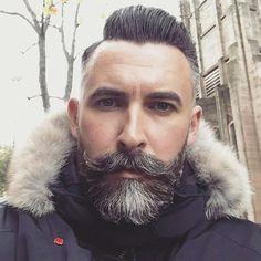 Classy Hairstyles For Men - High Fade Side Part Full Beard Handlebar Mustache # coiff men High Skin Fade, Handlebar Mustache, Beard No Mustache, Great Beards, Awesome Beards, Beard Love, Full Beard, Epic Beard, Hair And Beard Styles