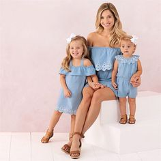 f0415e7610 Mom Girl Solid Color Falbala Matching Dress #Baby #fashion #Mommy #Mother #