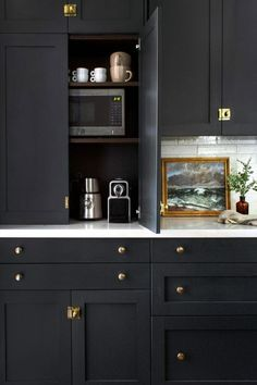 dark kitchen Tall, Dark, and Handsome DIY Shaker Cabinet Fronts by Semihandmade Complete this Victorian Kitchen Design: Beginning in the Middle Photographer: Catherine Williamson / edits by Esther Jung Location: Columbus, OH Paint color: BEHR Black Sable Kitchen Pantry Cabinets, Ikea Cabinets, Shaker Cabinets, Painting Kitchen Cabinets, Dark Blue Kitchen Cabinets, Dark Kitchen Countertops, Black Cabinets, Wood Countertops, Kitchen Cabinet Design