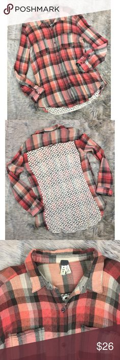 """We the Free people plaid lace back button down Med Super cute. Sheer plaid 100% cotton dusty pink button down. Cream colored full lace net back. Some pilling underneath armpits but otherwise good condition. Tagged size medium but please see measurements to ensure proper fit. Measured flat unstretched. Bust 19"""", length 28"""". See photos. Ask any questions before purchasing Free People Tops Button Down Shirts"""
