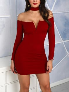 Choker V Cut Out Bodycon Party Dress Bodycon Dress Parties 979222225