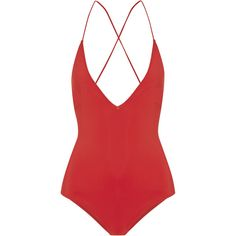 Emma Pake Antonia lace-up swimsuit ($145) ❤ liked on Polyvore featuring swimwear, one-piece swimsuits, swimsuit, bodysuits, bikini, swim, red, bikini one piece swimsuit, tassel swimsuit and swimsuit swimwear