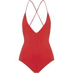 Emma Pake Antonia lace-up swimsuit found on Polyvore featuring swimwear, one-piece swimsuits, swimsuit, bodysuits, bikini, bathing suits, one piece swimsuit, swim suits, swimming costume and bathing suits bikini