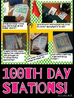 Tons of ideas for 100th day stations and a link to a free station sheet!