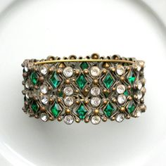 Hey, I found this really awesome Etsy listing at https://www.etsy.com/listing/158698903/art-deco-bracelet-wide-emerald-green
