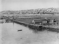 San Diego Bay's Waterfront Transformation: A view of the North Embarcadero waterfront in the 1920s.    (Courtesy of Port of San Diego)
