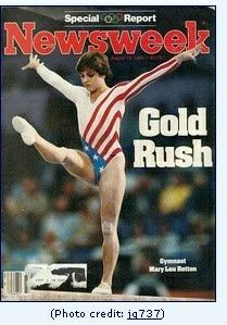 MARY LOU RETTON WINNING GOLD WHILE INJURED - 1984