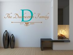 Last Name vinyl wall decal family name by BreezePrintCompany