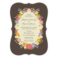 "Whimsical Rustic Romantic Pastel Flower Wreath 5"" X 7"" Invitation Card"
