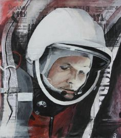 """First man in space- Russian astronaut Yuri Gagarin. Part of the collection """"Eras in Cultures around the world""""- representing Russia during the space race in acrylic on Russian newspapers. Artist: Brooke Braden"""