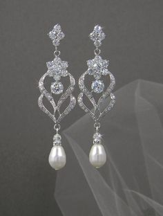 Bridal Earrings, Wedding Jewelry, Chandelier wedding earrings, Swarovski Crystal, Bridesmaids, Kathryn Crystal Earrings