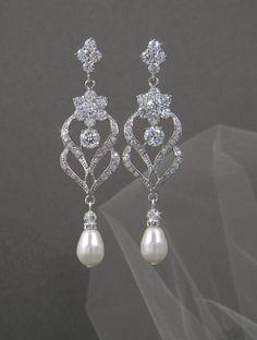 Bridal Earrings, Wedding Jewelry, Chandelier wedding earrings, Swarovski Crystal, Bridesmaids, Kathryn Crystal Earrings