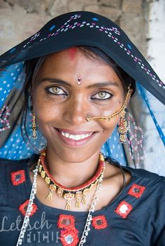 Papu, a Bhopa woman from the Thar desert in Rajasthan, India. Although the eyes of this woman are exceptionally beautiful, having light coloured green eyes is not rare in the Thar desert of Rajasthan, I...