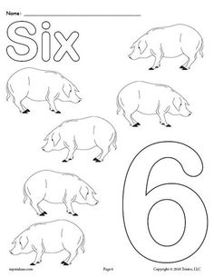 Free Printable Number Six Coloring Page