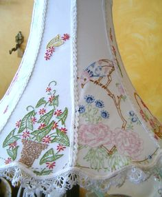 Recycled Embroidered Linens Lampshade: Recycled Memories Need Vintage Linens for crafting - find 'em at Kitsch-y-Cool Vintage in Charlotte!