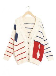Loose Twist Contrast Color Stripe Cardigan$42.00