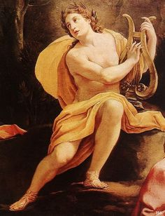 Detail: Apollo and the muses on Parnassus. 1640. oil on canvas. Simon Vouet. French. 1590-1649.