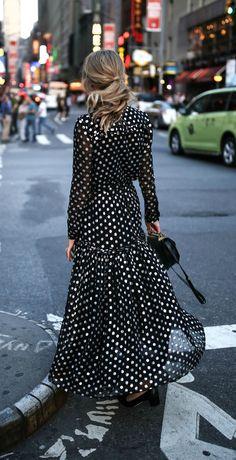 Metallic black and silver polka dot lace up maxi dress with black kitten block heel ankle strap sandals {dodo bar or, sam edelman, m2malletier, argento vivo}