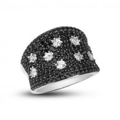 Charles Krypell Sterling Silver Starlight Concave Black & White Sapphire Ring