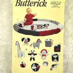Baby Playmat Toys Pattern, Butterick 6822 Craft, Giraffe, Zebra, Dalmation, Panda, Rattles, Balls, Cube, 1993 Uncut by DartingDogCrafts on Etsy