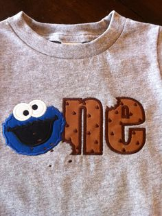 Cookie Monster ONE - First Bithday Applique - Gray Onesie/T-shirt. $20.00, via Etsy.