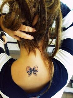 #bow #tattoo behind neck