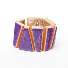 Purple and Orange, Chunky, Bracelet Made from a Used Skateboard Deck. Made in the USA FocusSkateJewelry ETSY!