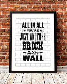 Pink Floyd song lyric art Pink Floyd art print by TheIndoorType, £10.99