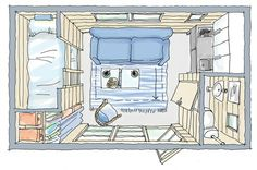 Turn the bottom bunk into an office/closet. Shed house floor plan. Put stand up shower where the sink is and put the sink either on the toilet or in the shower. Guest House Shed, Tiny House Cabin, Tiny House Plans, House Floor Plans, Small Space Living, Tiny Living, Rv Living, What Is A Conservatory, Pallet House