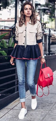 fashion trends jacket + red bag + jeans + sneakers