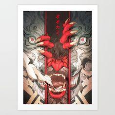The Wolf Art Print by belgeist Japanese Wolf, Japanese Art, Wolf Mythology, Largest Wolf, Wolf Comics, Werewolf Art, Demon Art, Fine Art Paper, Comic Art