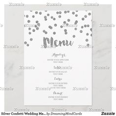 Silver Confetti Wedding Menu Wedding Dinner Menu, Wedding Confetti, Egg Shells, Tablescapes, Smudging, Paper Texture, Merry, Writing, Personalized Items