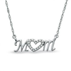Diamond Accent Mom Heart Necklace in Sterling Silver, $79.99