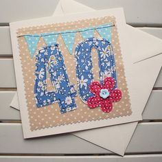 Your place to buy and sell all things handmade 40th Birthday Cards, Special Birthday, Handmade Birthday Cards, Creative Gift Wrapping, Creative Gifts, Freehand Machine Embroidery, Embroidery Cards, Fabric Cards, Fabric Pictures