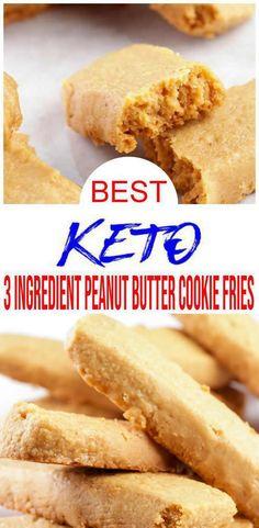 3 Ingredient Keto Peanut Butter Cookies – BEST Peanut Butter Cookie Fries Recipe – {Easy} NO Sugar Low Carb Recipe – Desserts – Snacks Keto Cookies, Keto Peanut Butter Cookies, Low Carb Peanut Butter, Peanut Butter Cookie Recipe, Keto Snacks, Keto Desserts, Dessert Recipes, Healthy Sugar, Breakfast Cookies