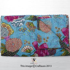 Indian-Quilt-Kantha-Quilt-New-Handmade-Quilt-Twin-Bedspread-Kantha-Throw-Blanket
