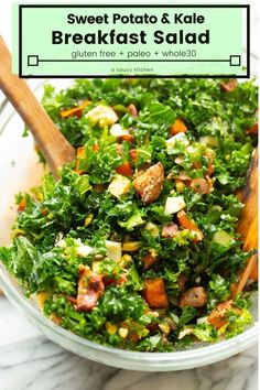 Sweet Potato Kale Breakfast Salad - pan fried sweet potatoes bacon and chopped hard boiled eggs with toasted pumpkin seeds in a simple garlic vinaigrette. Hearty filling and easy to make! Gluten Free Recipes For Breakfast, Whole 30 Recipes, Paleo Recipes, Pan Fried Sweet Potatoes, Sweet Potato Kale, Clean Eating Salads, Clean Eating Recipes, Healthy Eating, Healthy Soup