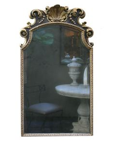 English Carved, Painted and Gilt Mirror, with Shell Decoration,   circa 1785