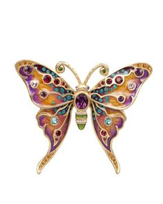 Arlyn Grand Butterfly Pin by Jay Strongwater at Neiman Marcus.