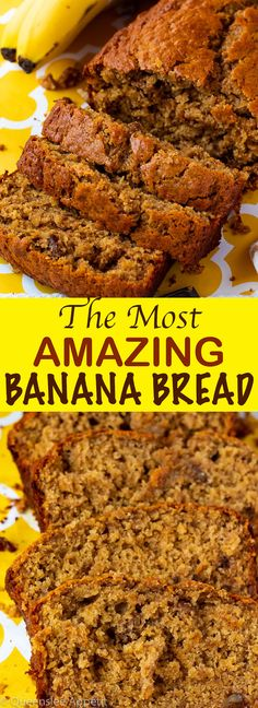 This is hands down the most AMAZING Banana Bread I've ever tasted! It's moist, f… This is hands down the most AMAZING Banana Bread I've ever tasted! It's moist, fluffy and the addition of chopped walnuts give a nice crunch in each bite! Buttermilk Banana Bread, Moist Banana Bread, Banana Bread Baking Powder, Cinnamon Banana Bread, Dessert Bread, Dessert Recipes, Bread Cake, Bread Food, Cake Recipes