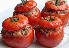 Quinoa and Lamb stuffed tomatoes.Click and Cook Recipes Healthy Eating Recipes, Veg Recipes, Whole Food Recipes, Cooking Recipes, Recipies, Vegan Vegetarian, Vegetarian Recipes, Leftovers Recipes, English Food