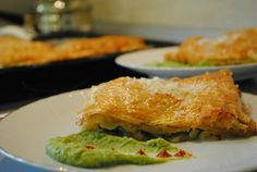 Chicken cheese pie with pea and harissa puree