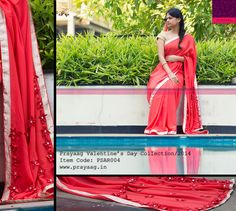 Red saree with rose gold borders